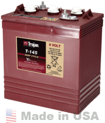 Trojan T-145 6V, 260AH (20HR) Flooded Lead Acid Battery