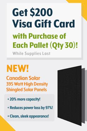 Free Visa Gift Card for Canadian Solar 395 Watt Solar Panel Purchase