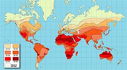 World Solar Insolation Map