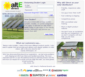 altE Direct's login page
